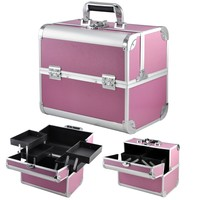 Large Space Beauty Make up Cosmetic Box Vanity Case Storage - Pink