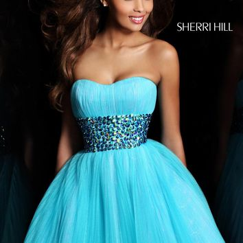 Sherri Hill 21163 Aqua Cocktail Dress