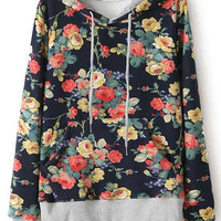 Floral Print Hooded Sweatshirt