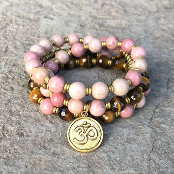 "Rhodochrosite and Tiger´s Eye ""Self Love and Prosperity"" Yoga Mala Bracelet Or Necklace"