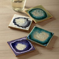 Geode Coasters in Assorted Blue Tones - Set of 4