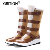 GRITION Free Shipping Fashionable Mid Calf Hook and Loop Women Boots Flock Faux Fur Flat Round Toe Black Camel Warm Snow Boots