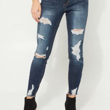 Dark Blue Mid Rise Frayed Jegging In Curvy