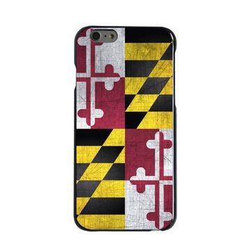 DistinctInk® Hard Plastic Snap-On Case for Apple iPhone - Old Weather Maryland Flag