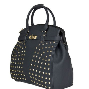 """THE SONOMA"" Studded Black Rolling iPad, Tablet or Laptop Tote Carryall or Weekender Bag"