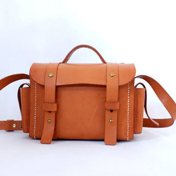 Brown Leather Camera Bag -Messenger Bag