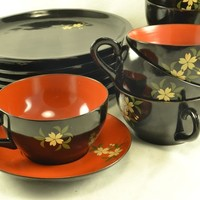 Lacquerware Snack Set Japanese BENBO Okinawa 18 Pieces, Cups Saucers Plates, Black Orange Delicate Forget Me Not Flowers Vintage Post War