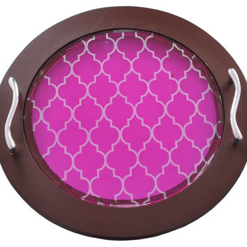Moroccan Round Tray, Fuchsia, Serving Trays