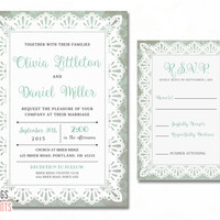 Mint Wedding Invitation Suite - Lace Wedding Invitation Set - Lace Wedding Invites - Printable Wedding Invitation - Shabby Chic Wedding