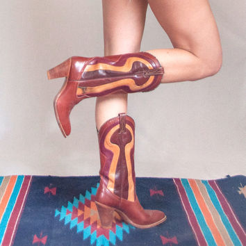 70s Dingo Disco Era Western Boots - womens size 7 | Retro Psychedelic Color Blok Hippie Boots | Unique Stacked Heel Vintage Cowboy Boots 6.5
