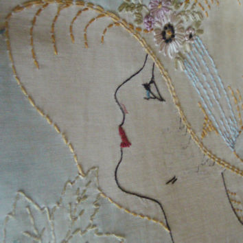Vintage Boudoir Pillow 1930's Embroidered Lady In A Hat