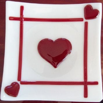 Triple Heart Valentine Dish/Plate in Fused Glass