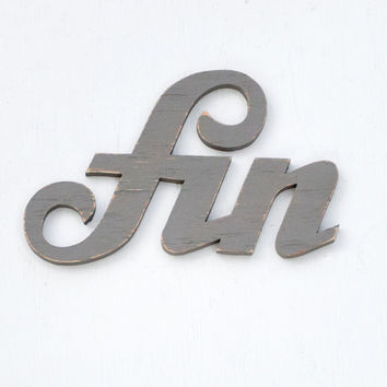 fin handmade wood sign - wall decoration for vintage or modern decor