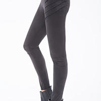 Paneled Faux Suede Leggings