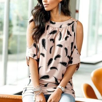 Floral Round Neck Half Sleeve Off Shoulder Feathers Loose Blouses