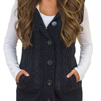 Chic Women Black Cable Knit Hooded Sweater Vest