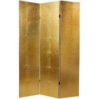 6 ft. Faux Leather Gold Crocodile Room Divider