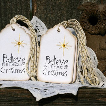 Christmas Gift Tags - Set of 10 Holiday gift tags with twine - Believe in the Magic of Christmas - choice of gold or silver