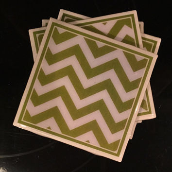 "Coasters, Set of Four, High Gloss,Chevron Zig Zag, Green.  Made to Order, They match Curtains sold in Etsy shop ""WindowToppings"""