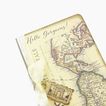 Personalized Travel Journal, Gift for Her, Valentine's Day, Altered World Map Notebook, Initials, Anniversary Journal