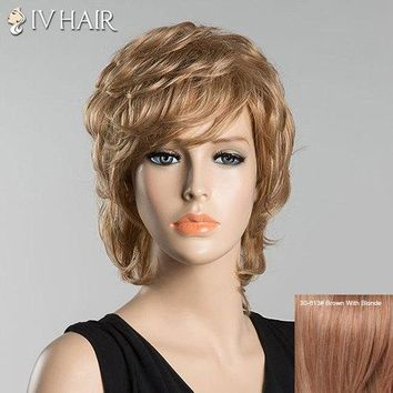 Short Inclined Bang Slightly Curled Siv Human Hair Wig - Brown With Blonde