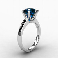2.50ct London blue topaz ring,  black Diamond, white gold, Engagement ring, Solitaire, Blue, black Diamond engagement, Topaz engagement