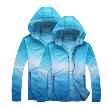 Vertvie Running Jackets for Women Men Lovers Quick Dry Sun Protection Gradient Printed Thin Skin Sport Jacket Hooded Cardigan