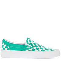 The Classic Slip On Sneaker in Aqua Green and White