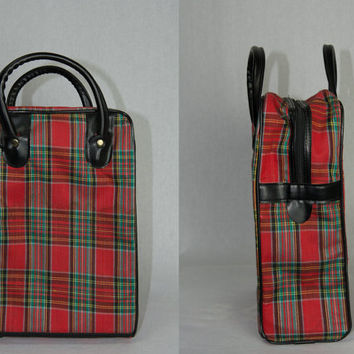 Vintage Plaid Suitcase Mini Weekender Bag Purse