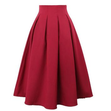 Women Pleated Skirts Spring Summer Vintage High Waist Knee Length Office Work wear Flared Tutu Solid Ball Gown Skirt