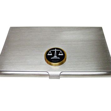 Golden Scale of Justice Business Card Holder