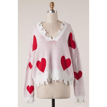 Queen of Hearts Distressed Sweater  ONLY 1 M/L Left