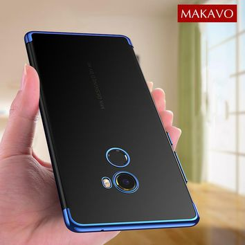 MAKAVO Case for Xiaomi Mi Mix 2 Cover Mix2 3D Laser Plating Soft Transparent Slim Luxury TPU Back Mobile Phone Cases