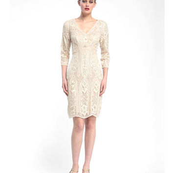 Preorder - Sue Wong N5366 Champagne Floral & Sequin Embroidered Three-Quarter Sleeve Short Dress Fall 2015