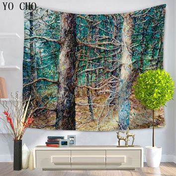 YO CHO Forest Bohemian Mandala Tapestry Wall Hanging Beach Picnic Throw Rug Blanket Camping Tent Travel Mattress Sleeping Pad 3d