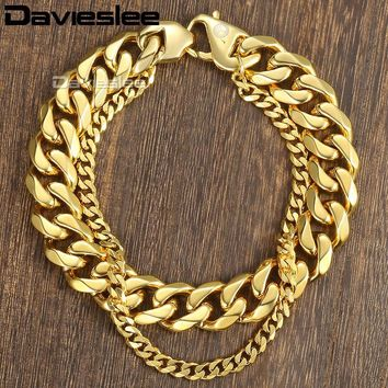 Davieslee Curb Cuban Box Wheat Link Mens Bracelet Chain Double Layer Stainless Steel Gold Silver Tone 10-14mm DDBM01B