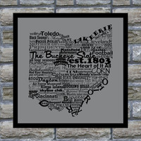 Ohio State Word Art Typography Print The Buckeye by DefineDesign11