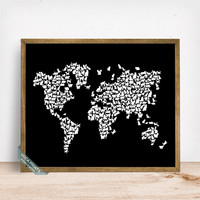 Cats World Map Print, Cat World Map, World Map Poster, Animal Wall Art, Home Decor, Animal World Map, Cat Poster, Mothers Day Gift