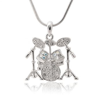 Silver Plated Crystal Drum Set Necklace