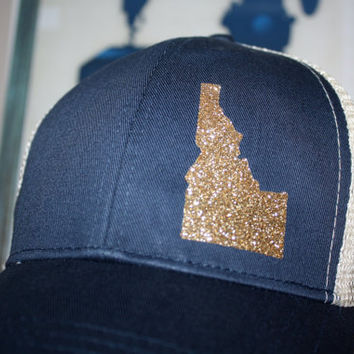 Idaho 'Sparkly State' Hat - Gold State - State Trucker Hat - Organic/ Recycled Material Hat