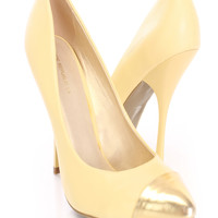Yellow Single Sole Pump Heels Faux Leather