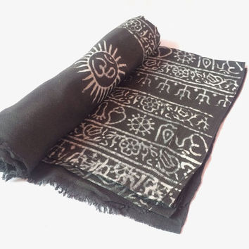 Black Color OM Prayer Cotton Shawl For Yoga and Meditation