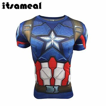 T Shirt Captain America Civil War Tee 3D Printed T-shirts Men iron man Fitness Clothing Male Crossfit Tops Compression