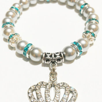 Silver and Turquoise Crown Bracelet / Five Point Crown Rhinestone Bracelet / Crown Jewelry / Turquoise and Gray Jewelry
