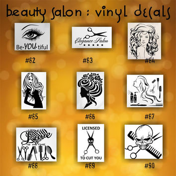 BEAUTY SALON vinyl decals - 82-90 - personalizable car window stickers - custom vinyl decals - car decal - car sticker