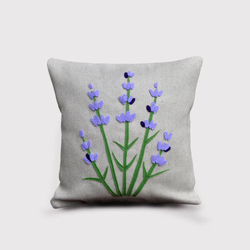 Lavender pillow, spring decorative pillow, lavender, flowers, gift for her, pillow flowers, purple cushion covers, natural beige linen