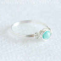 Sterling Silver Faceted Tiny Turquoise ring, wire wrapped ring, handmade jewelry, unique ring