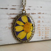 Real yellow flower on purple hand painted oval pendant, resin jewelry, antique brass necklace, spring fashion, nature