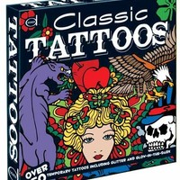Classic Tattoos: Over 50 Temporary Tattoos including Glitter and Glow-in-the-Dark (Dover Fun Kits)