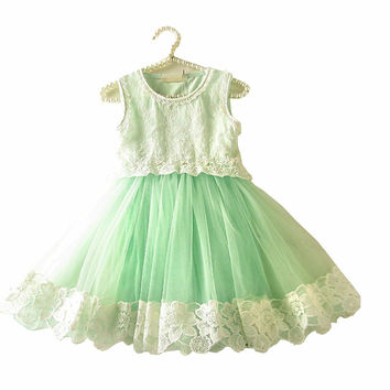 Lovely Lace Baby Girl Kids Vintage Flower Floral Tutu Dress Tulle Chiffon Princess Girl Dresses New 2015 Children Clothing 1- 6t
